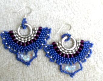 Purple, burgandy and Silver Seedbead Earrings
