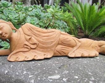 Hand carved Teak Reclinning Buddha Statue