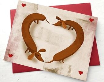 """Dachshund """"Wiener Dog"""" Valentines Card- 5 pack"""