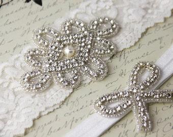 20% OFF Wedding garter set, Light Ivory stretch lace Bridal Garter set, Rhinestone and Crystal garters