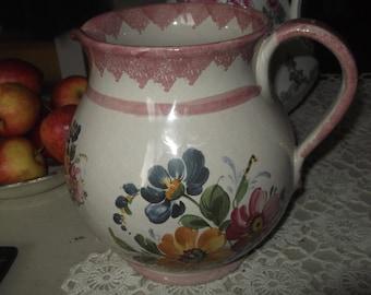 Vintage  Hand Painted Jug Italian , Art Pottery