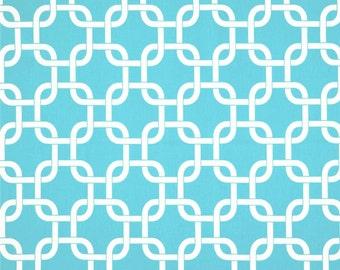 Gotcha Twill Girly Blue Premier Prints Fabric - One Yard - White and Aqua Blue Home Decor Fabric