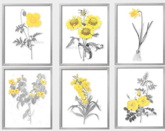 Yellow Wall Art, Yellow And Gray Print, Yellow Gray Decor, Yellow White  Prints