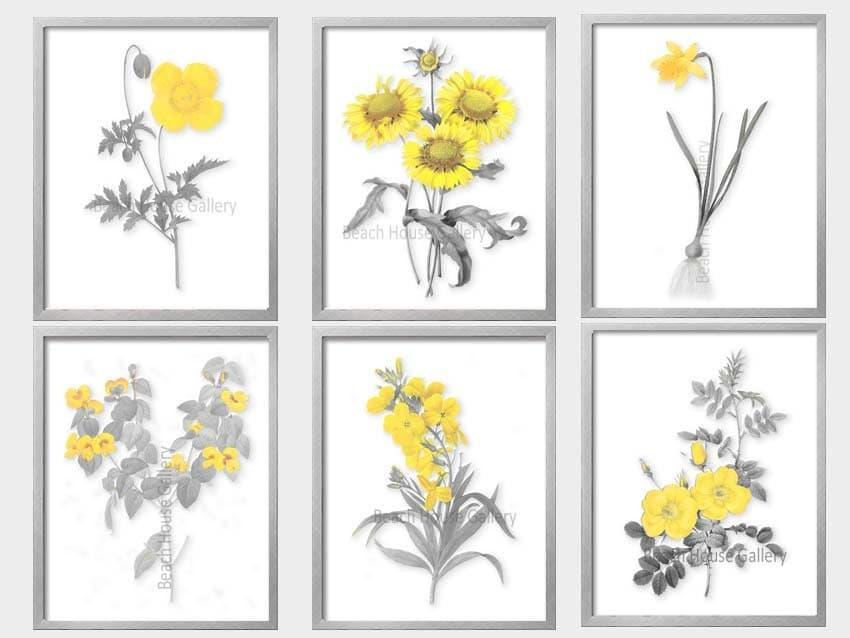 yellow wall art yellow and gray print yellow gray decor. Black Bedroom Furniture Sets. Home Design Ideas
