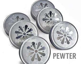 Daisy Cut Mason Jar Lids--(12) PEWTER Daisy Cut Mason Jar Lids, Metal Jar Lids, Mason Jar Lids, Daisy Lids