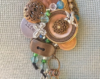 Custom assemblage necklace using your own small treasures!