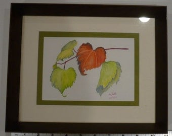 """Grape Leaves Watercolor Pencil Painting in Deep Frame 10.75"""" x 8.75"""" - original, one of a kind - Ready to hang"""