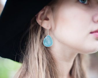 Aqua Chalcedony, Sterling Silver, Blue Statement Earrings, Large Big Turquoise Wedding Bridesmaid Gift, Pear Bridal Present Bright Gemstone