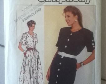 """Simplicity Dress Pattern 7889   Size: 12, Bust 34"""", Waist 26"""", Hip 36"""""""