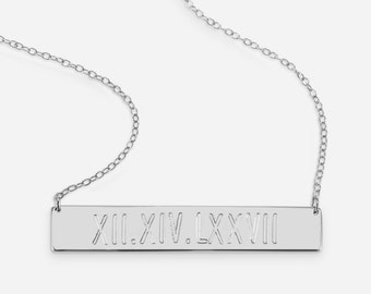 Sterling Silver Roman Numerals Engraved Bar Necklace - EN1326