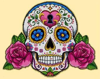Sugar Skull & Pink Roses -Cross Stitch Pdf Pattern