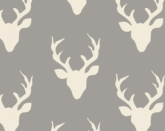 Fabric Hello, Bear, Buck Forest, in Mist, by Bonnie Christine Art Gallery Deer Gray Antler