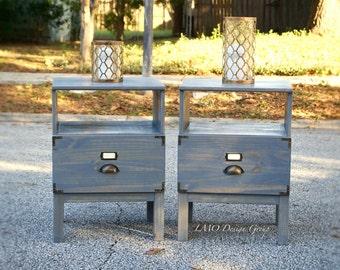 Wooden industrial nightstands