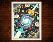 Solenoids & Asteroids - limited edition Pinball themed silkscreen print