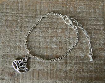 Silver Lotus Flower Bracelet, Lotus Flower Charm Bracelet, Silver Bracelet, Adjustable Bracelet