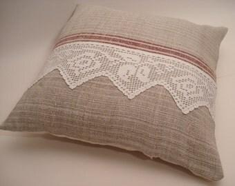 Grain Sack Pillow Cover/ Rustic Cottage Pillow / Nautical Decor / Rustic Farmhouse Style
