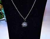 Vintage Silver tone Starburst Choker Necklace, 1970s, 16 inches