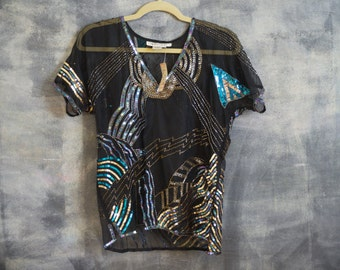 Sparkly Sheer Sequin Blouse / 100% Pure Silk