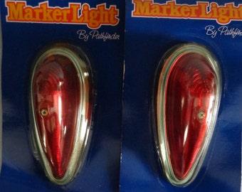 Pathfinder Red Cab Marker Lights NOS Auto Truck Lights 13986 V - 472FR Teardrop shape 472 Sae 60