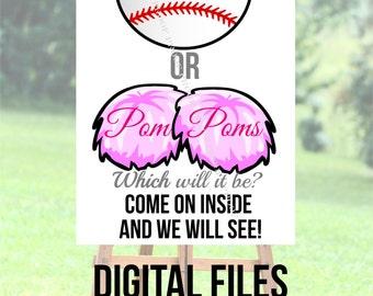 Baseballs or Pom Pomu0027s welcome sign DIGITAL FILES DIY Printing Gender reveal party door easel sports  sc 1 st  Etsy & Digital easel sign | Etsy pezcame.com