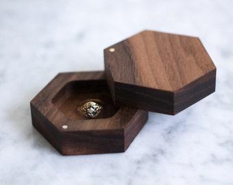 Wedding Ring Box, Engagement Ring Box, Geometric Ring Box, Wooden Ring Box, Wood Ring Box, Walnut Ring Box, Rustic Ring Box