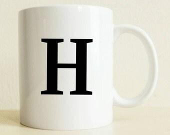 Monogram Mug Gift (Letter only) | Letter Mug Gift | Best Friend Gift | Coworker Gift | Gift for Her | College Student Gift