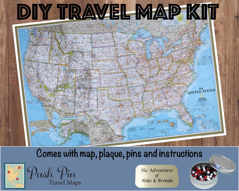 DIY Classic USA Push Pin Travel Map Kit with 100 Pins  Pushpin Map