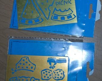 Picnic brass embossing stencils