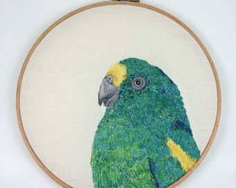 Textile art free machine embroidered, free motion embroidery, hoop art , parrot picture