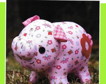 "Pattern ""Oink Oink"" Pig Soft Sculpture, Stuffed Toy, Softie, Cloth Toy Sewing Pattern by Melly & Me (MM149)"