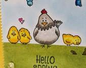 Hello Spring Hen and Chicks Card