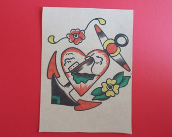 VINTAGE TATTOO ANCHOR tattoo flash,sailor tattoo,heart,flowers,painting,rockabilly,hotrod,vintage american,neo traditional tattoo flash