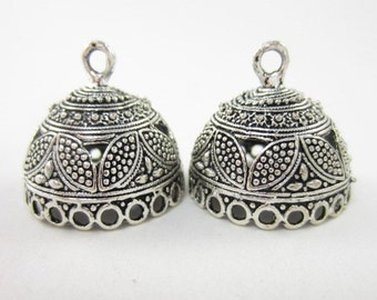 2pcs 24mm-Opening-Round End Cap with 21-Dangling-Holes Highly Textured Silver Plated (F2158)