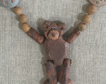 Teddy Bear Necklace...Vintage...Free Shipping
