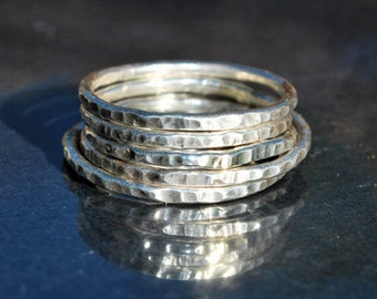 Silver Stacking Ring, Sterling Silver Stackable Ring, Hammered Silver Ring, Petite Ring, Sterling Silver Band, Dainty Ring, Durable Ring