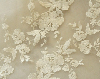 ivory bridal wedding lace applique pair