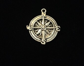 Compass charms, Silver compass charm, 16 pieces, 26mm Antique silver finish, nautical charms, cruise charms 20-31-AS