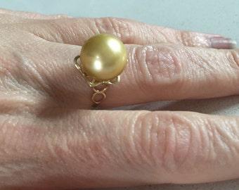 Australian South Sea Golden Pearl Ring
