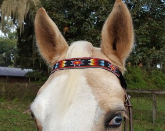 American Indian Style Browband for Horse or Pony with Black Blue Red Yellow Seed Beads - Native American Equine Tack Jewelry