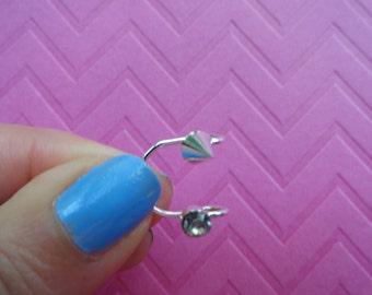 Soike crystal  silver wire ear cuff