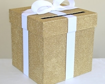 """Gold Wedding Card Box with Bow 9"""" w x 9"""" h-Choose your colors"""