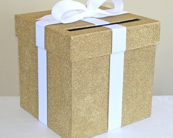 """Gold Glittered Wedding Card Box with Bow 9"""" w x 9"""" h-Choose your colors"""