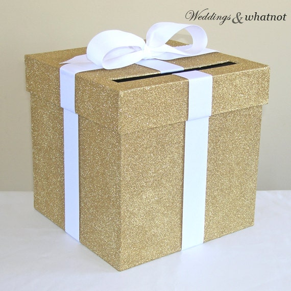 Gold Metal Scroll Wedding Gift Card Box : Gold Wedding Card Box with Bow 9