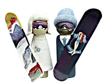 Snowboarding Bride and Groom Peg Doll Wedding Cake Topper