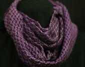 Hand woven purple & black silk infinity scarf