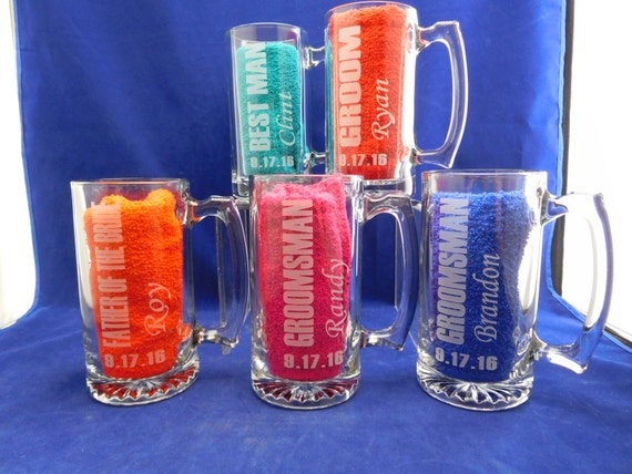 Wedding Gift Beer Mugs : Set of 4 Beer Mugs for Groomsmen Monogrammed Wedding Party Gifts Beer ...