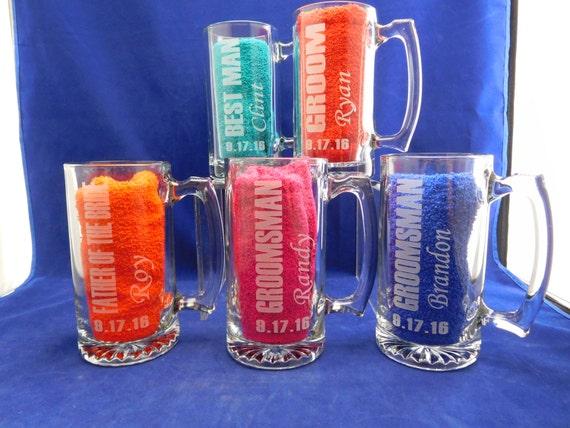 Set of 4 Beer Mugs for Groomsmen Monogrammed Wedding Party Gifts Beer ...