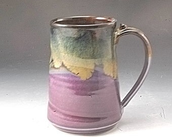 Pottery Mug Handmade Large Purple  and  Brown Stoneware by Mark Hudak
