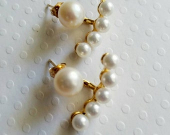 SALE!!!Pearl jacket earrings. Gold filled jacket earrings