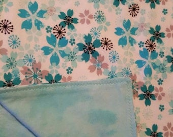 Cozy flannel blanket, blue and aqua flowers, floral baby blanket, matching burp cloths